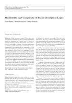 Decidability and Complexity of Fuzzy Description Logics