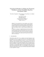 Experimental Results on Solving the Projection Problem in Action Formalisms Based on Description Logics
