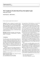 The Complexity of Lattice-Based Fuzzy Description Logics