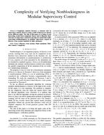 Complexity of Verifying Nonblockingness in Modular Supervisory Control