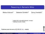 Slides: Reasoning in Semantic Wikis