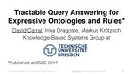 Slides: Tractable Query Answering for Expressive Ontologies and Existential Rules